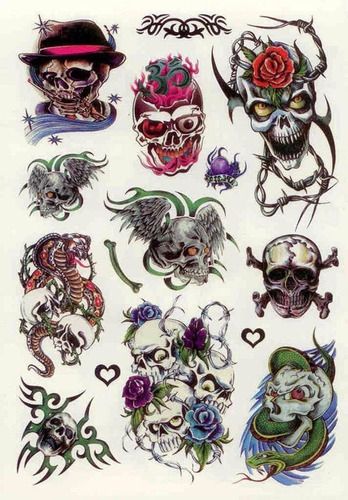 Imagem 1 de 4 de Kit 60 Tattoos Caveiras Temporárias Tatuagens N32