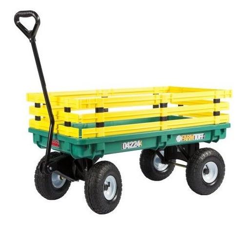 Farm Tuff Plastic Deck Wagon Green Con Estantes Extraibles A