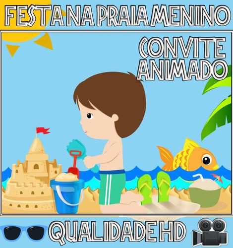 Imagem 1 de 1 de Convite Animado Aniversário Beach Party Festa Praia Menino
