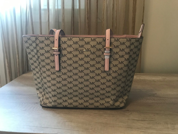 Bolsa Michael Kors Jet Set Travel Bege/rosa Original
