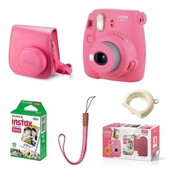 Kit Câmera Fujifilm Instax Mini 9 Rosa Flamingo + 10 Fotos Original Lacrado C/ Garantia
