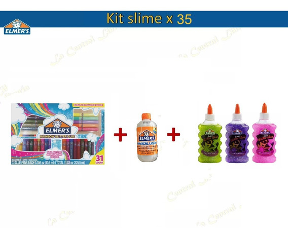 Kit Elmers 31 Piezas + Activador + 3 Adhesivos Glitter