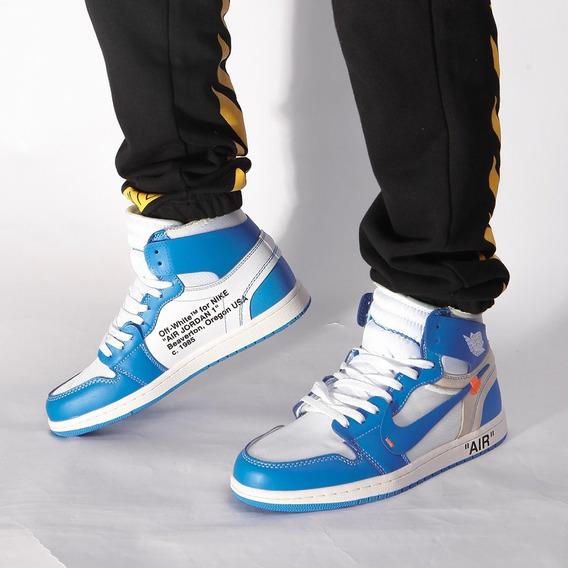 Nike Air Jordan 1 Xoff White Couro Azul