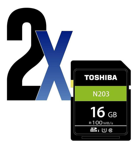 Cartão De Memória Sdhc 16gb 100mb/s Uhs-i Toshiba 2un
