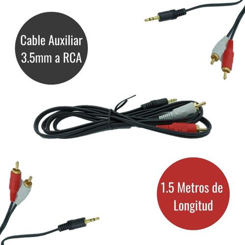 Imagen 1 de 6 de Cable Rca A Auxiliar 3.5mm Adaptador De Audio 1.5 Metros