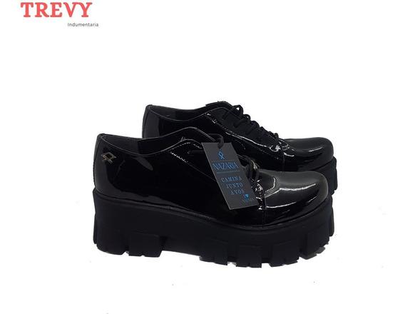 Zapatos Mujer Botineta Plataforma Charol Negro