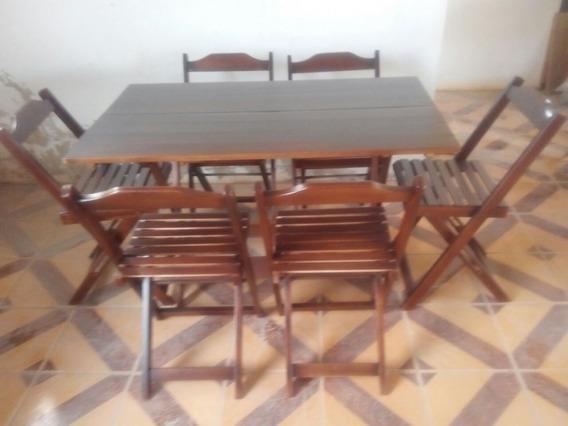 Jogos Conjuntos Mesa Bar Dobrável 120x70 4 Cadeiras Madeir