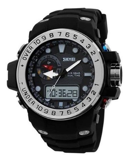 Relógio Masculino Preto E Prata Skmei 1063 (caixa + Certif.)