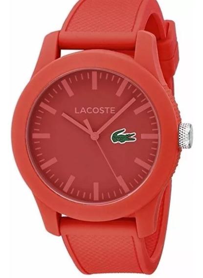 Reloj Lacoste Rojo Texturizado Con Envio Gratis