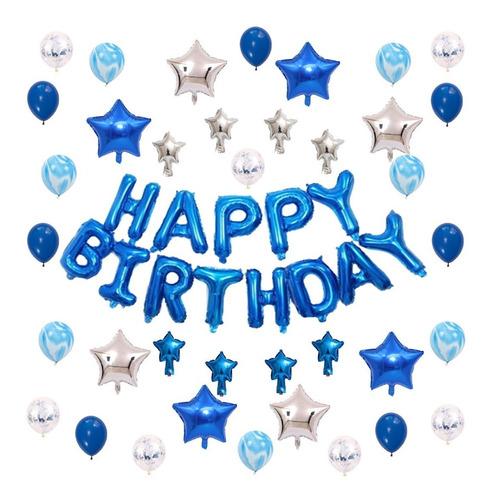 Imagen 1 de 5 de Globos De Cumpleaños Azules Para Hombre Y Niño [ 50 Piezas ]