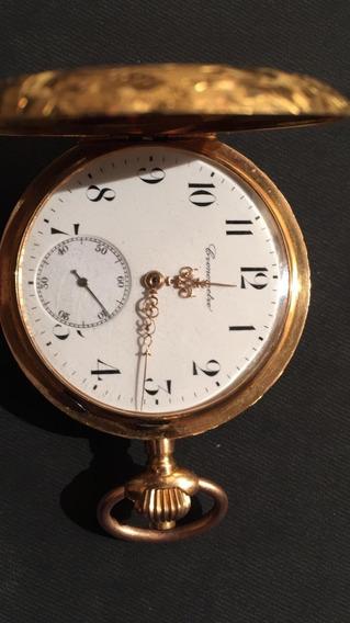 Reloj De Bolsillo De Oro De 18k Antiguo, Funcional, 3 Tapas