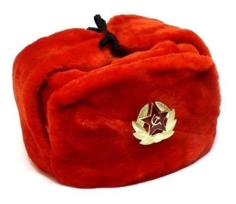 Ushanka Sombrero Ruso Ushanka Rojo Con Insignia