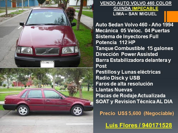Auto Sedan Volvo 460 Año 1994 Sistema De Inyectores Full 04