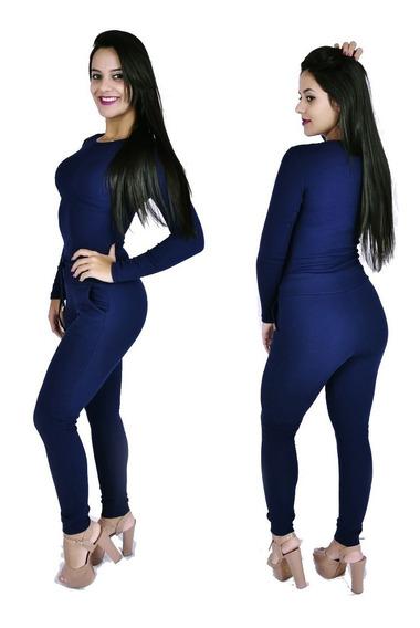 Kit 3 Conjunto Feminino Calça E Blusa Ribana Canelada Frio
