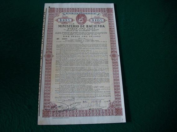 Paraguay . Ministerio De Hacienda . Bonos Oro 1935 .