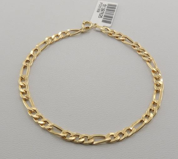 Pulseira Masculina Figaro 3x1 20 Cm Ouro 18k 750 Oferta Espe