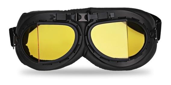2 Óculos Goggle Aviador Old School Vintage Capacete Aberto