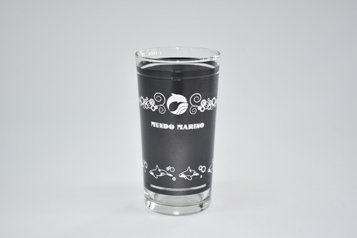 Imagen 1 de 1 de Vaso Trago Largo Negro Mundo Marino 355 Cc