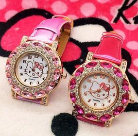 Relógio De Pulso Com Strass Hello Kitty Infantil Menina