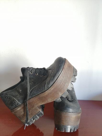Zapatos Acordonados Plataforma Mujer