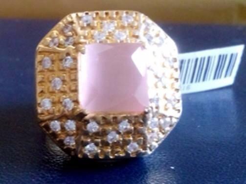 Anel Grande Pedra Natural Rosa