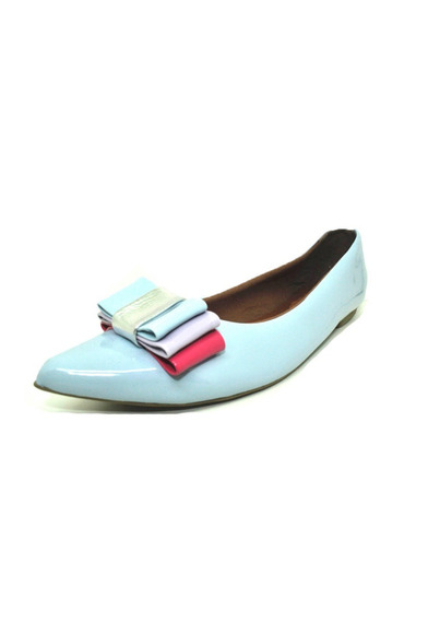 Sapatos Femininos Sapatilha Verniz Azul Bebe Laço Dani K