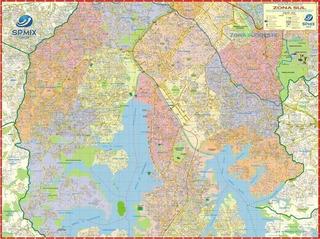 Mapa São Paulo Região Zona Sul - 120cm X 90cm Gigante