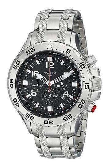 Relógio Nt065 Nautica Preto Chronograph N19509g Puls. Aço