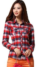 Blusa Camisa Xadrez Feminina Pronta Entrega Bolso