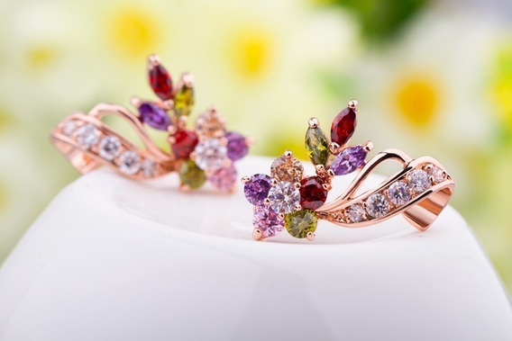 Brincos Femininos Ouro Rosa Zircônia Coloridas Semi Joias