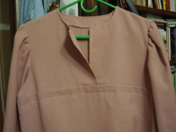 Blusa Camisola Crepe Rosa-viejo Talle S/ M-ver Fotos Y Descr