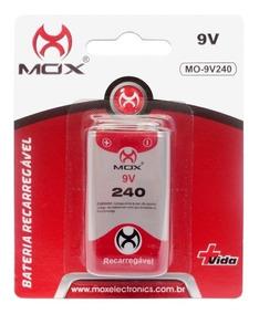 Bateria 9v Recarregável 240mah Ni-mh Mox Original Mo-9v240