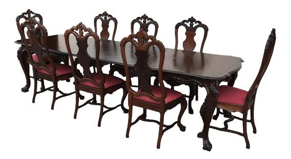 Magnifica Mesa Antiga Jantar 8 Cadeiras Dom Jose Jacaranda