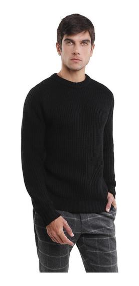 Suéter Tejido Hombre Punto Grueso Cuello Redondo Negro Lob