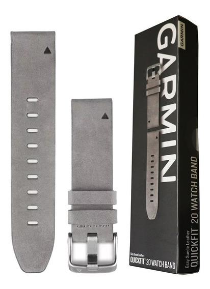 Pulseira Garmin P/ Relógio Quickfit 20 Couro Cinza Fenix 5s