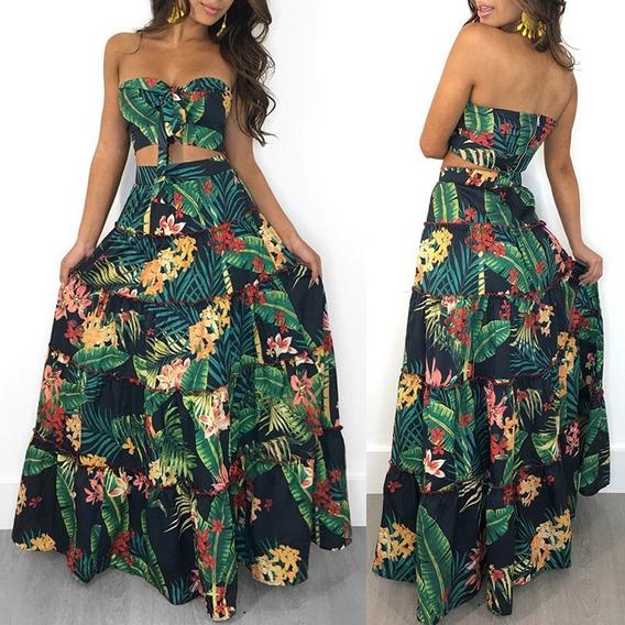 Las Mujeres De Dos Piezas Set Crop Top Skirt Floral Print