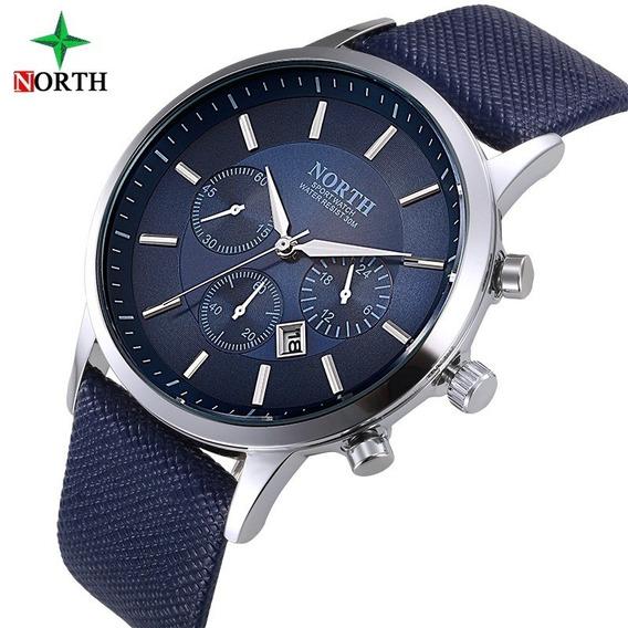 Relógio Masculino Luxo Casual Sport Couro Legítimo + Brinde