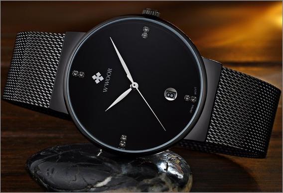 Relógio Unissex Com Caixa Original Preto Ultra Fino Luxuoso