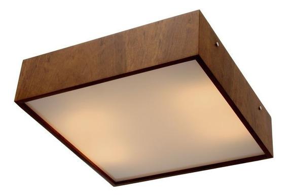 Luminária Plafon De Sobrepor Madeira 40x40