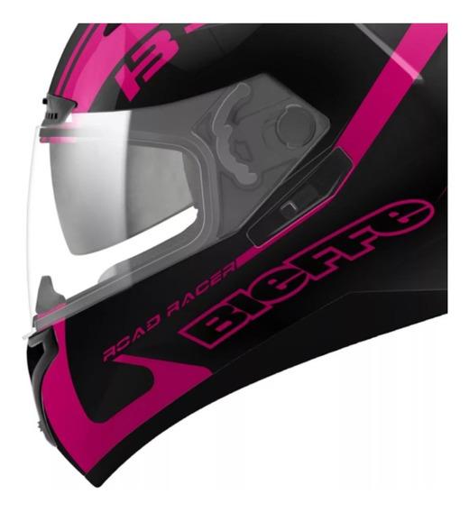 Capacete Bieffe B40 Road Racer Feminino Rosa Com Óculos Fume