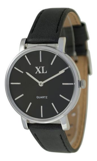 Reloj Xl Extra Large Moda Cuero Dama Xl728 Plateado
