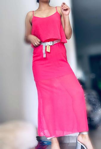 Vestido Rosa Con Tul - Talle Único