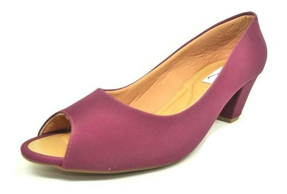 Sapatos Femininos Salto Peep Toe Nobuck Marsala Dani K