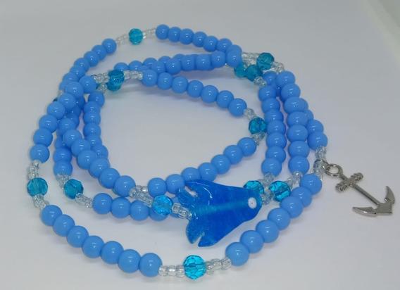 Guia De Iemanjá Cristal E Porcelana Azul 230 Contas