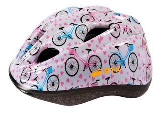 Capacete Pro Junior Retro Bikes 46 A 55 Branco Com Azul Rosa