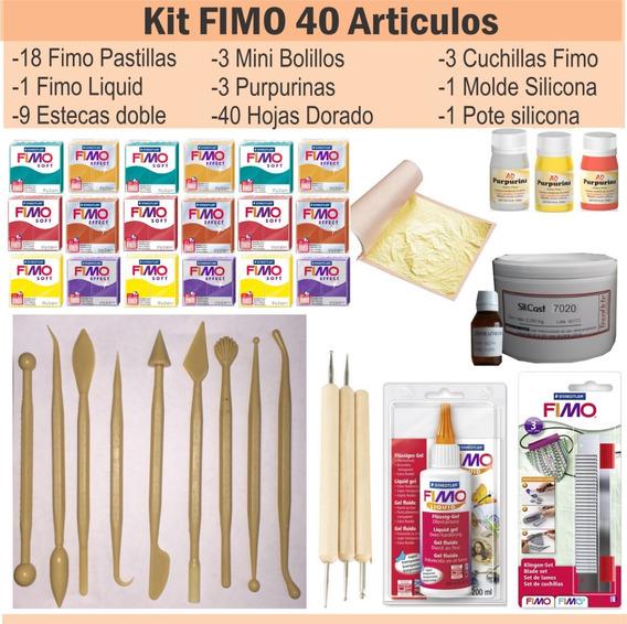 Kit Fimo 40 Articulos Liquido Esteca Dorado Caucho Silicona