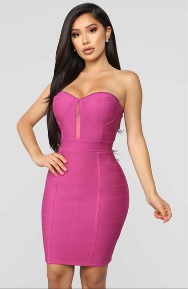Vestido De Mujer Sexy Color Fucsia Escotado