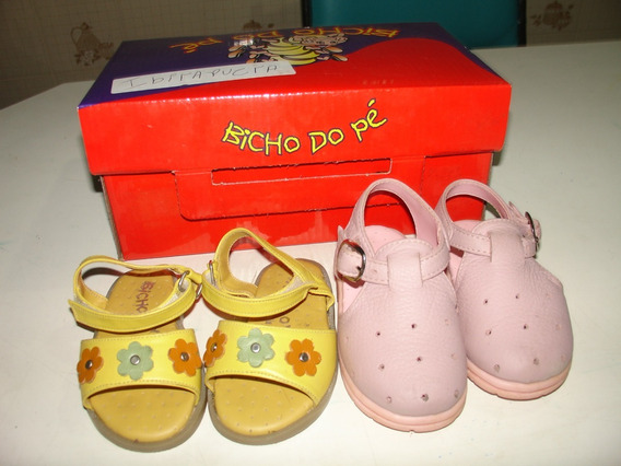 Menina Sapato Sandalias Amarela Rosa Couro Bicho De Pe 18 Ta
