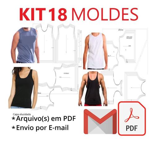 Kit 18 Moldes Modelagem Camisa Regata Masculina E Feminina