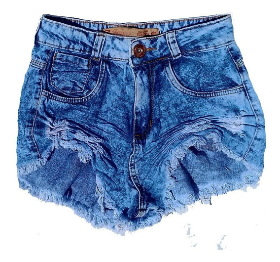 Shorts Jeans Cos Alto Cintura Alta Desfiado Manchado St011